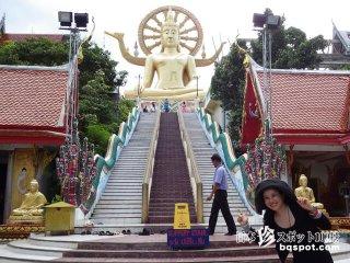巨大仏像とヘタウマ像「ワット・プラヤイ寺院1」【タイ】